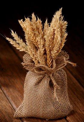 Bukiet traw zboże naturalne w jutowym woreczku  25-30 cm