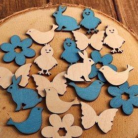 Wielkanocne figurki drewniane 3-4 cm  błękitno-kremowe 24 szt./op. PROMOCJA