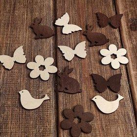 Wielkanocne figurki drewniane 3-4 cm  brąz-natura 24 szt./op. PROMOCJA