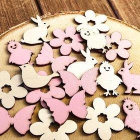 Wielkanocne figurki drewniane 3-4 cm  różowo-kremowe 24 szt./op. PROMOCJA