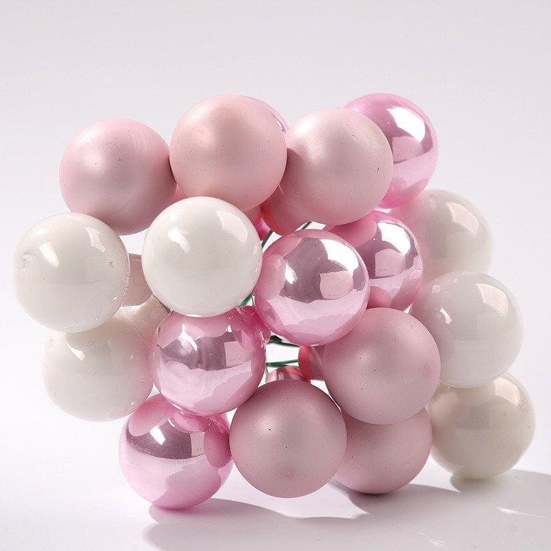 Bombki Szklane Na Druciku Wz 1 śr 20 Mm Odcienie Różowo Białe Matbłysk Wiązka 18 Szt