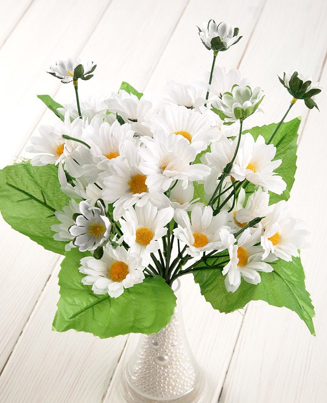 Stokrotka Bukiet Kwiatowy Kwiaty Sztuczne Biały 30 Cm 1 Szt